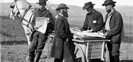 Newspaper sellers in 1863 Virginia