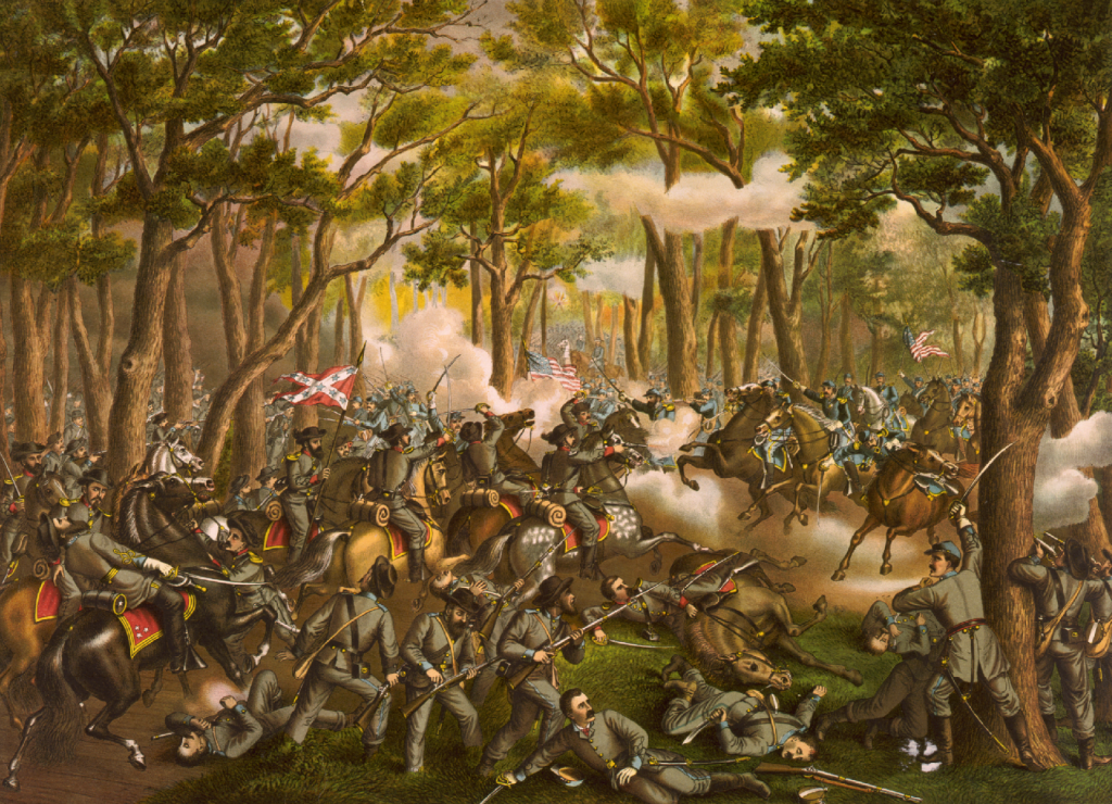 Battle of the Wilderness Desperate Fight at Orange Plank Road Neat Todd's Tavern May 6 1864 by Kurz and Allison