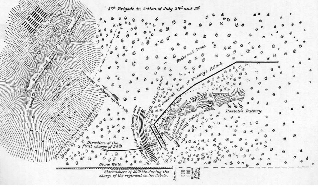 Map of Little Round Top by Col James C. RIce 44th NY
