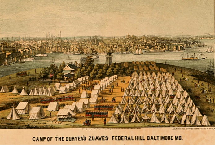 Camp of Duryea's Zuaves Federal Hill Baltimore