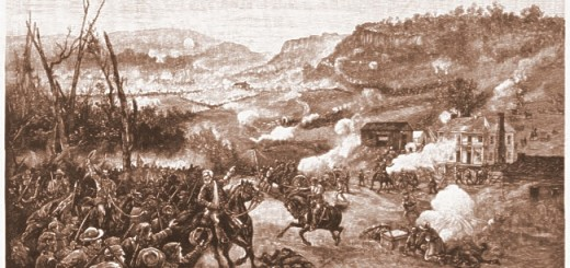 Battle of Pea Ridge by Hunt Wilson.  Elkhorn Tavern is the Light Colored Building on the Right