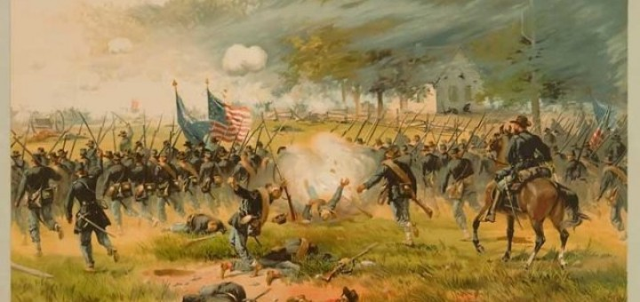 Battle of Antietam, specifically, the charge of Iron Brigade near the Dunker Church, on the morning of September 17, 1862. Chromolithograph by Louis Prang and Company of an original painting by Thure de Thulstrup