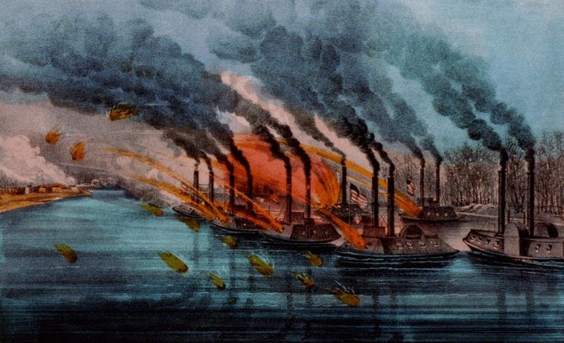 Bombardment of Fort Henry by Currier and Ives