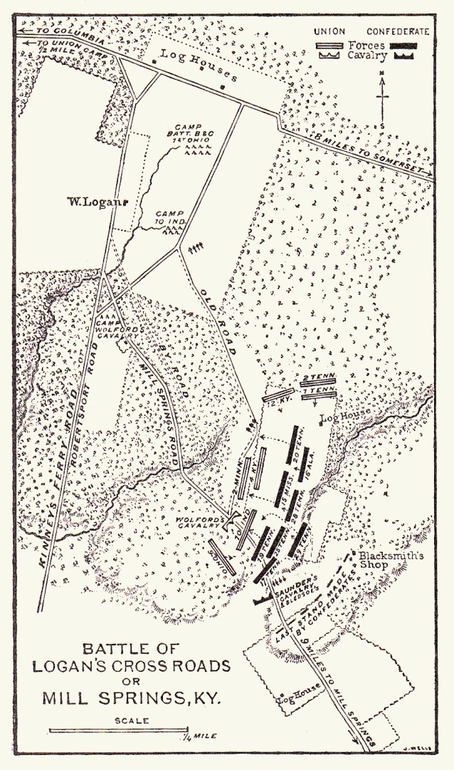 Map of the Battle of Mill Springs, KY