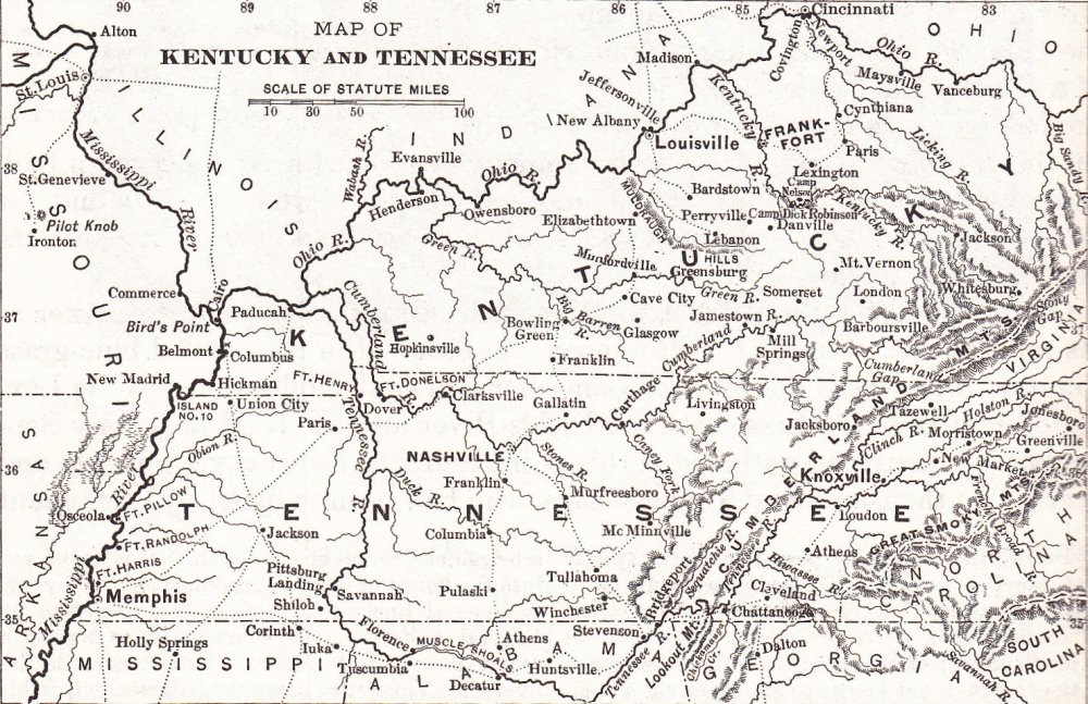 Civil War map of Kentucky and Tennessee