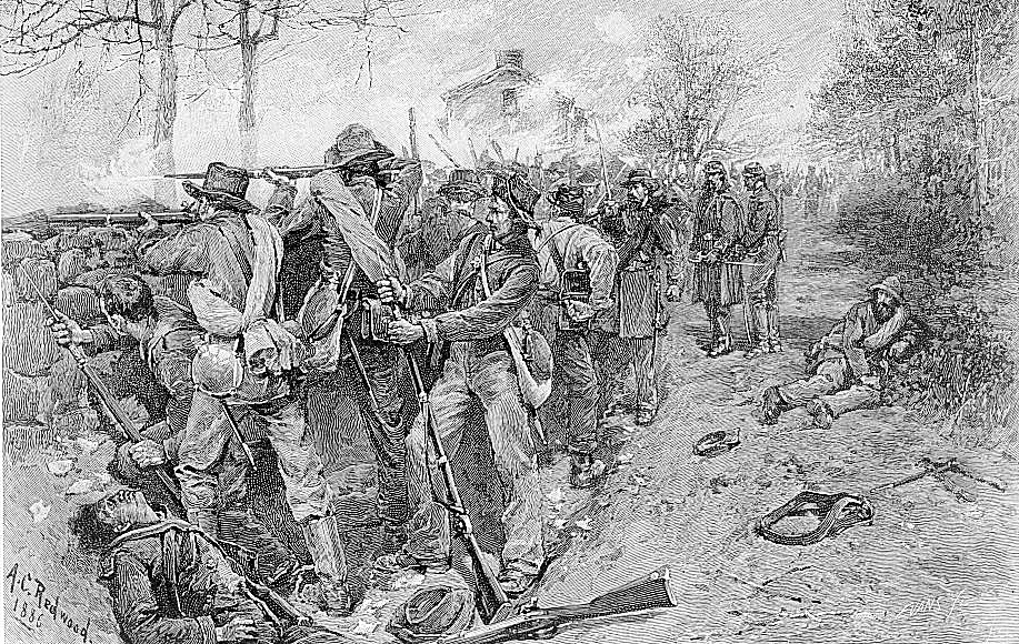 Cobb's and Kershaws Troops Behind the Stone Wall