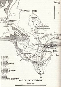 Map of the Battle of Mobile Bay