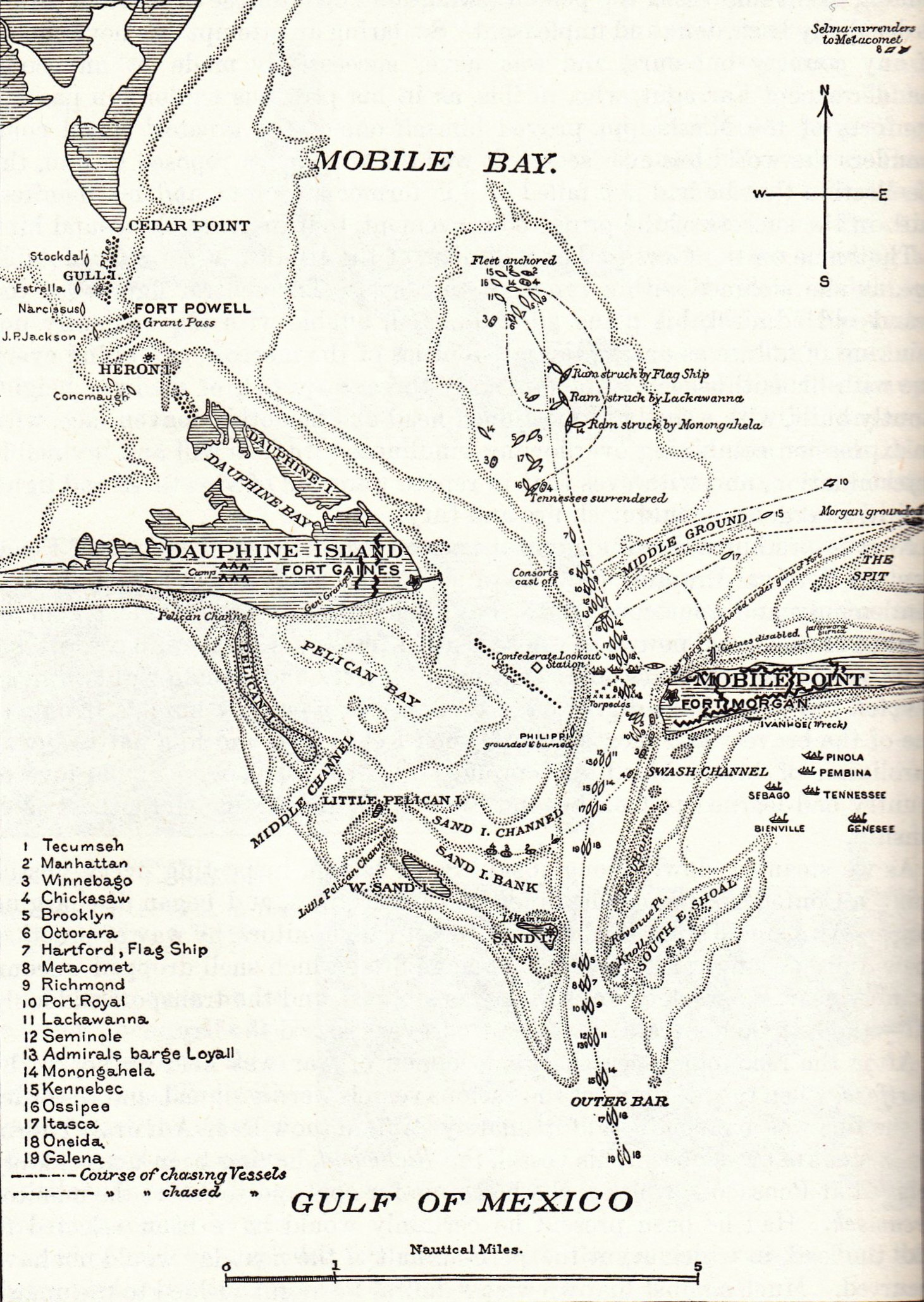 Uss lackawanna vs css tennessee at the battle of mobile bay august 6 -  Tennessee From The Map Of The Battle Of Mobile Bay