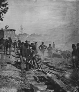 Sherman's Men Destroying Railroad Tracks in Atlanta
