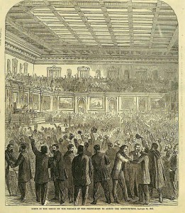 Celebration in House of Representatives After Passing 13th Amendment