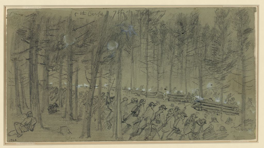 5th Corps at Hatcher's Run 7th of February by Alfred Waud