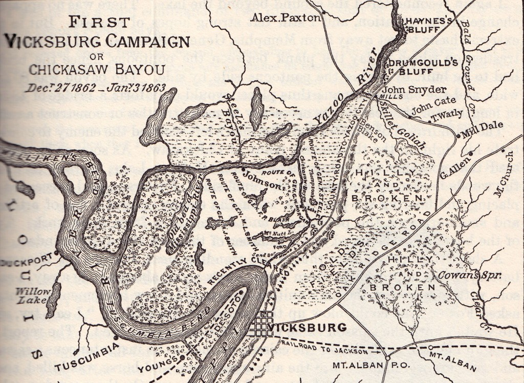 Map of the Battle of Chickasaw Bayou
