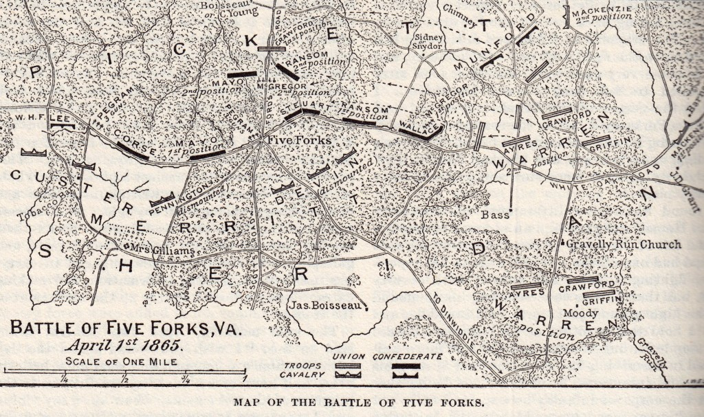 Map of the Battle of Five Forks