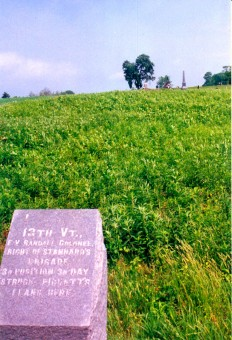 Monument marking the location of the 13th Vermont Infantry, on Cemetery Ridge, Gettysburg NMP
