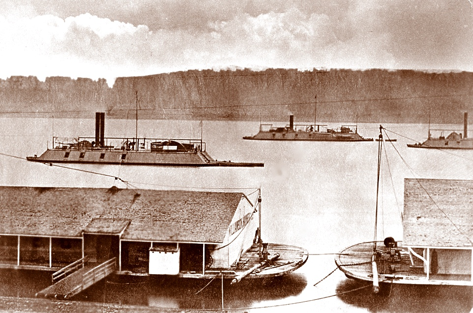 Gunboats DeKalb, Mound City, and Cincinnati of the Mississippi River Squadron